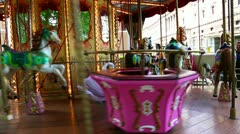 Locked-on shot of a carousel Stock Footage