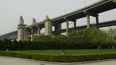 China, Yangtze River Bridge View Stock Footage