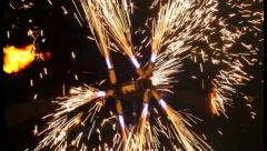Sparks from fireshow, huge fire mill, flame artists, fireworks, click for HD Stock Footage