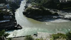 Stock Video Footage of Locked-on shot of Devprayag view at confluence of Alaknanda and Bhagirathi River