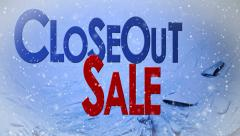 Closeout sale snow Ice cutaway transition motion graphics animated cold Stock Footage