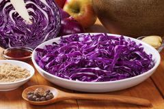ingredients for spiced red cabbage - stock photo