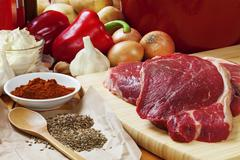 ingredients for goulash - stock photo