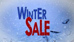 Winter sale with snow and Ice animated cutaway transition advertising Stock Footage