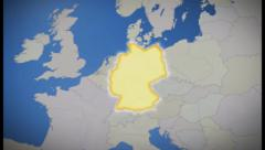 Germany on map of Europe. Country pull out. Blue, click for HD Stock Footage