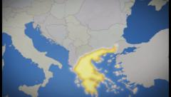 Greece on map of Europe. Country pull out. Blue, click for HD Stock Footage