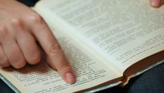 Hand Shatters Pages Show Text CloseUp - stock footage