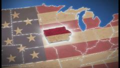 USA map, Iowa pull out, all states available, click for HD Stock Footage