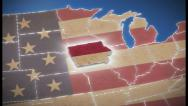 Stock Video Footage of USA map, Iowa pull out, all states available, click for HD