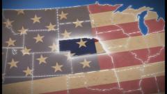 USA map, Nebraska pull out, all states available, click for HD - stock footage