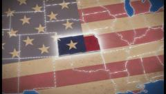 USA map, Kansas pull out, all states available, click for HD - stock footage