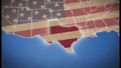 USA map, Texas pull out, all states available, click for HD Stock Footage