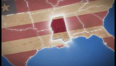 USA map, Mississippi pull out, all states available, click for HD - stock footage