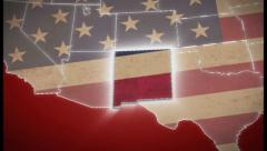USA map, New Mexico pull out, all states available. Red, click for HD Stock Footage