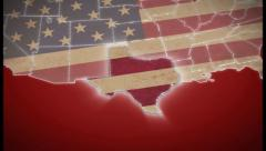 USA map, Texas pull out, all states available. Red, click for HD Stock Footage