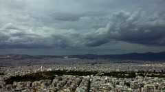 Athens skyline establishing shot time lapse clouds passing over - stock footage