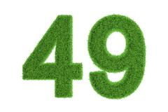 Number 49 with a green grass texture Stock Illustration