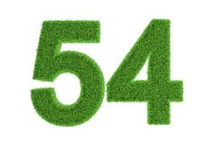 environmentally friendly symbol of number 54 - stock illustration