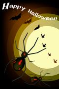 Two Evil Spiders on Full Moon Background - stock illustration