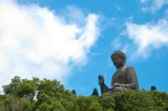 Giant buddha at po lin monastery Stock Photos