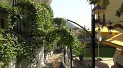 Greek traditional village, culture, viticulture, flag waving, rural, hill Stock Footage