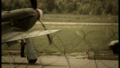 Vintage russian soviet airplane steering at airport, click for HD Stock Footage