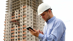 Construction engineer with the tablet Stock Footage