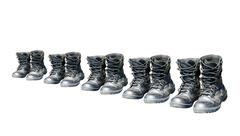 Army shoes row Stock Photos