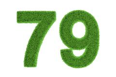 Number 79 with a green grass texture Stock Illustration
