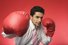 Portrait of a businessman wearing boxing gloves Stock Photos