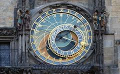 prague astronomical clockbuilding, calendar, capital, castle, church - stock photo