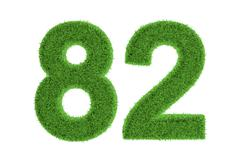 number 82 with a green grass texture - stock illustration