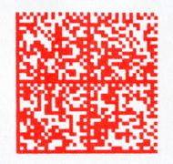 Red 2d barcode on paper Stock Photos