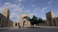 Beautiful mosque along the former Silk Road in Uzbekistan Stock Footage