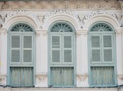 vintage window on wall - stock photo