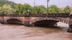 Prague Floods 2013 - Bridge of The Legions Stock Footage