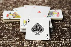 Ace of spade on other cards Stock Photos