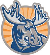 Angry moose mascot retro Stock Illustration