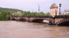 Prague Floods 2013 - Bridge of The Legions Wide Stock Footage