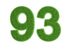 Number 93 with a green grass texture Stock Illustration