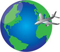 Plane around the world Stock Illustration
