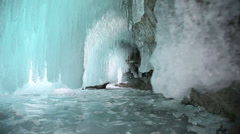 Ice grotto on Baikal lake Stock Footage