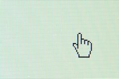 Hand cursor on computer screen Stock Photos