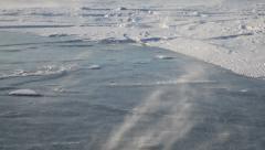 Drifting snow on Baikal lake Stock Footage