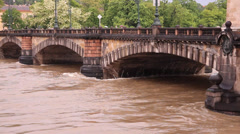 Prague Floods 2013 - Bridge of The Legions Closer Stock Footage