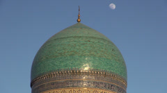 Minaret, blue dome, Bukhara, Silk Road, Uzbekistan Stock Footage