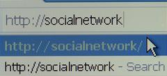 Social network url on computer mornitor Stock Photos