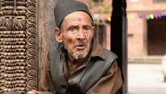 Portrait of an old monk Stock Footage
