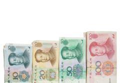 Lähikuva 1 20 50 100 kiinalaista seteleitä Kuvituskuvat