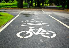bicycle lanes in park - stock photo